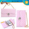 High Quality Diamond Lattices Rose Rhinstone Bling Crystal Wallet Leather Belt Clip Flip Wallet Case For iPhone 5