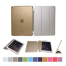 Golden PU smart case cover for iPad air1/air2 wake&sleep function case in factory outlet