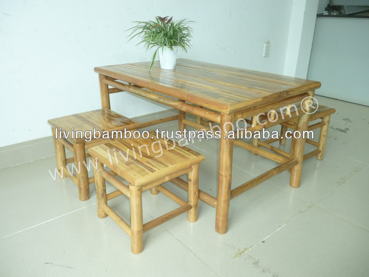 Low table set bamboo garden furniture buy bamboo dining for Bamboo outdoor furniture