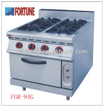 4 burners gas cooking range with gas oven