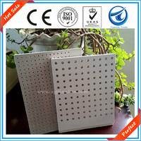 Hot Sale! 595*595mm Lightweight soundproof white color acoustic perforated gypsum ceiling boards/panels with square,circle holes