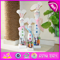 2015 Children wood crafts coloful wooden rabbits,Wooden rabbit craft for christmas,High Quality wooden rabbit decoration W02A088