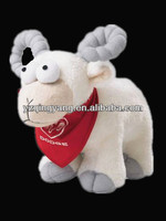 Cheap big eyes animal toy stuffed plush lamb with long goat horn toy for kids