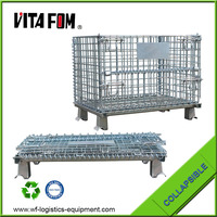 VITAFOM Folding Wire Mesh Container/ Stackable Storage Cage/ Metal Basket