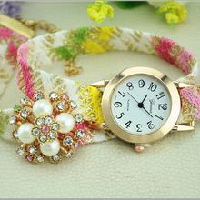 Quartz natural Click handmade weaving jade carve weave pearl flower Bracelet silver wide watch wings women men wholesale