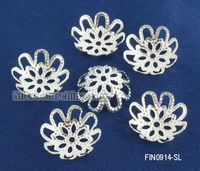 Silver Plated Flower Wholesale Bead Caps Findings 14x5mm