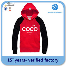 wholesale cheap plain red pullover hoodie for women