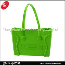 2015 Hot Sale Handbag Cheapest Rubber Cute Green Tote Bag