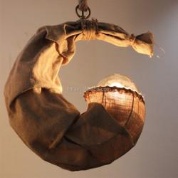 handmade hemp rope style pendant light cloth designer lamp vintage fabric lighting