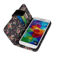 Floral PU Stand Wallet Leather Case Cover for Samsung Galaxy S5 i9600 Case