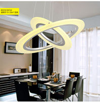 2015 hot selling Modern led pendant light frosted acrylic double ring silver or white Chandelier light