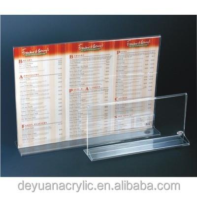 best sale clear acrylic menu stand/acrylic menu holder/clear acrylic tent card holder wholesale
