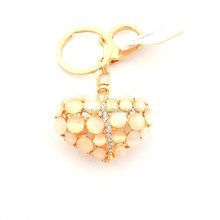 wholesale custom keychains gold three colors heart keychain mental keyring rhinestone keychain