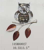 2015 popular good quality and best seller metal iron gifts and crafts decorative owl leaves