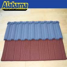 Wind resistance korean stone coated steel roof tile, durable curved stone coated metal roof tile