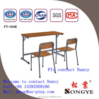 Top-end wooden steel double student desk and chair