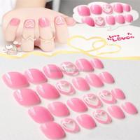 Pink heart design 24pcs full artificial plastic fingernails