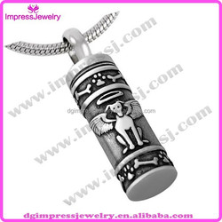 IJD8186 hot sellingf angel dog urn cylinder stainless steel pet cremation jewelry