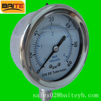 All stainless steel glycerin filled bourdon tube pressure gauge