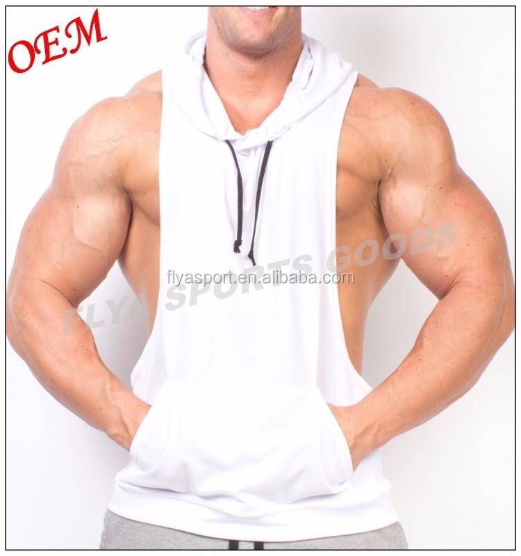 wholesale 100% cotton design your own logo custom mens gym sleeveless hoodie