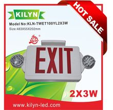 LED Exit Sign Portable Emergency Lighting Combo Unit / Rotate LED Lamp Head / Red Letter / White housing