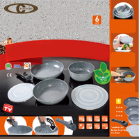 6pcs STONE marble cookware set pan set with detachable handle