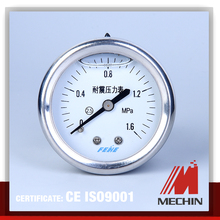 bottom cheap all stainless steel oxygen cylinder pressure gauge en 837-1