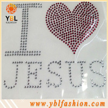 Christian Iron on letter rhinestone transfer on tees