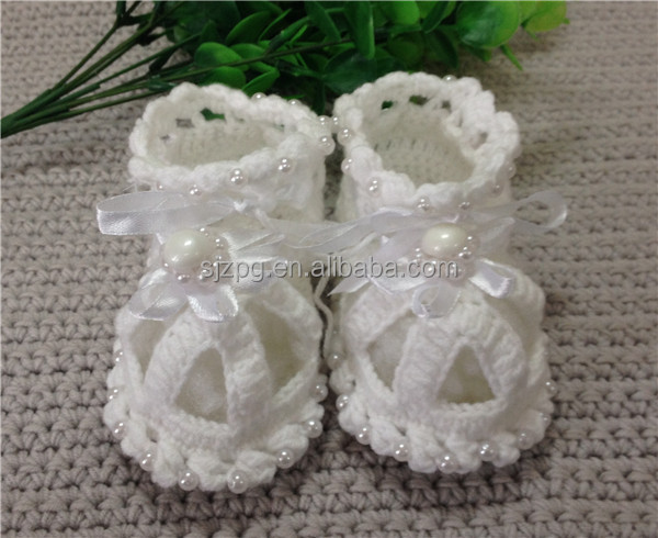 Crochet Baby Booties With Pearls Free Pattern : Wholesale white pearl hand knitted baby shoes baby ...