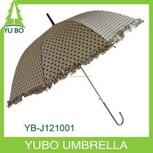 2015 new brown dot printed straight umbrella, auto open umbrella with flower edge