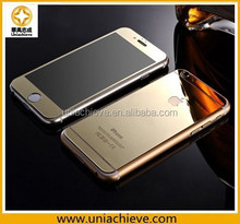 Mirror effect electroplated tempered glass front and Aluminium back case for iPhone 6/iPhone 6 plus