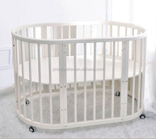 nice style white color solid bamboo wood baby crib