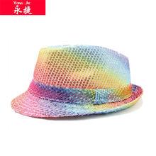 2014 latest china wholesale sequin fashion colorful fedora hat