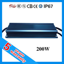 high PFC high efficiency waterproof 200w 0-10v dimmable led driver with 5 years warranty