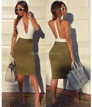 Sexy Lady Elegant Prom Dress Chiffon Halt Top Knee-length Skirt Sleeveless Evening Party Dress
