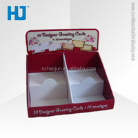 Customized cardboard counter display box for greeting card and envelopes