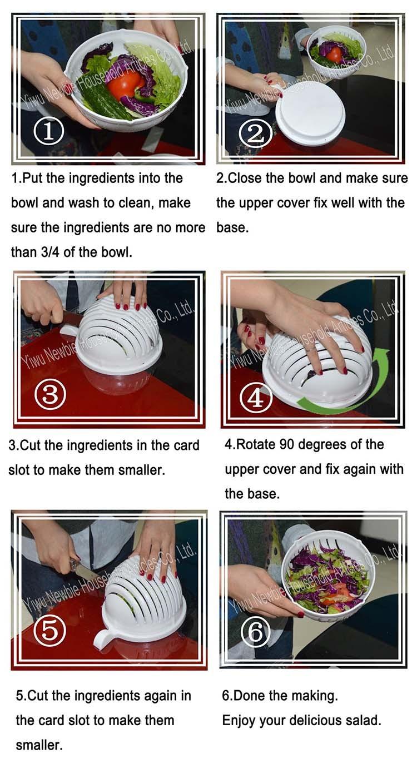 60 segundo Prefectly Picado salada Bowl Como Visto Em Itens de TV