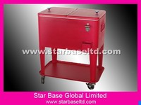 Beverage cooler for yard with 4 wheels