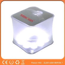 2015 Seksun Original Unique design Solar Light Camping and Travel Equipment Solar Powered Cube Lantern with LED indicator