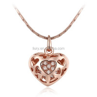 18k crystal howllow out heart lover's gift jewelry necklaces