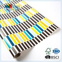 Custom Printed Aqua Black Painterly Stripes Roll Wrap