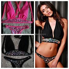 2016 VENUS vacaciones recién llegado sexy top para siempre de moda diamante traje de baño de dos piezas negro y pink swimsuit bikini