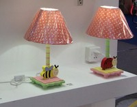 Children kids bed side and reading table lamp cute pink bee design with shade