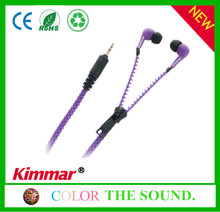 New style Zipper Fashion Y-cable Design earphone with MIC Volume Headphone for Mobile Phone