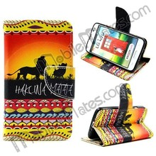 for LG L70 Flip Cover, Case for LG Optimus L70, Leather Cell Phone Protective Case for LG L70 Tribal Style
