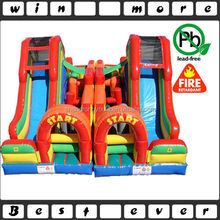inflatable obstacle course with double slides, inflatable turbo rush obstacle course