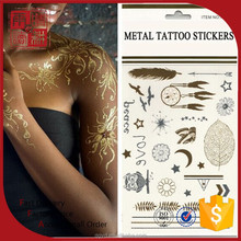 Beauty water transfer customized gold tattoo supply, metallic temporary tattoo