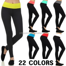Fold Over CONTRAST YOGA PANTS COTTON LEGGINGS Gym Fitness High Quality
