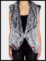 Mosbeer fashion Women's Korean style sleeveless real rabbit fur vest gilet with wool yarn for sex girls