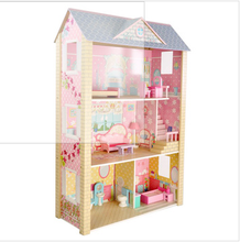 Fashion Pretend play Children wooden dollhouse with doll furniture